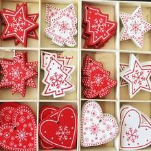 цена на 10Pcs/Set Large Size Natural Wooden Christmas tree Hanging Ornaments Pendant DIY Tree Snow Flakes For Xmas Decor Free Shipping