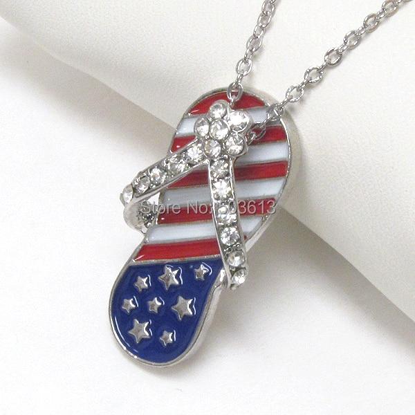 Fashion Costume Jewelry Alloy Crystal Rhinestone American Flag Sandal Enamel Pendant Necklace xy037