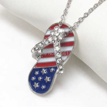 Fashion Costume Jewelry Alloy Crystal Rhinestone American Flag Sandal Enamel Pendant Necklace xy037 - DISCOUNT ITEM  14% OFF All Category
