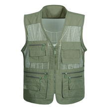 Summer Mesh Vest For Men Spring Autumn Male Casual Thin Breathable Multi Pocket Waistcoat Mens Baggy 5XL Vest With Many Pockets multi pocket tactical vest black male vest outdoor male cs field equipment breathable mesh