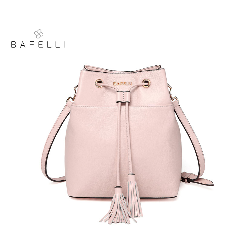 BAFELLI women shoulder bag Genuine Leather tassel bucket crossbody bags for women famous brand bolsos mujer pink black women bag meiyashidun new tassel women bag luxury handbags women genuine leather messenger bags famous brand design tote bucket bag bolsos