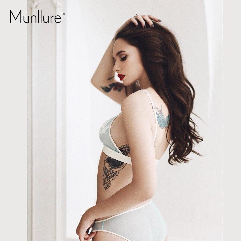 b2e098cc00 Munllure Elegant Embroidery Autumn Winter Thin Comfortable Triangle Cup  Underwear Sexy Solid Women Underwear Bra Set 2019 New-in Bra   Brief Sets  from ...