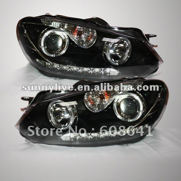 For VW Golf 6 LED Headlights With Angel Eyes 2010-2012 ( Left and Right ) V3 Type