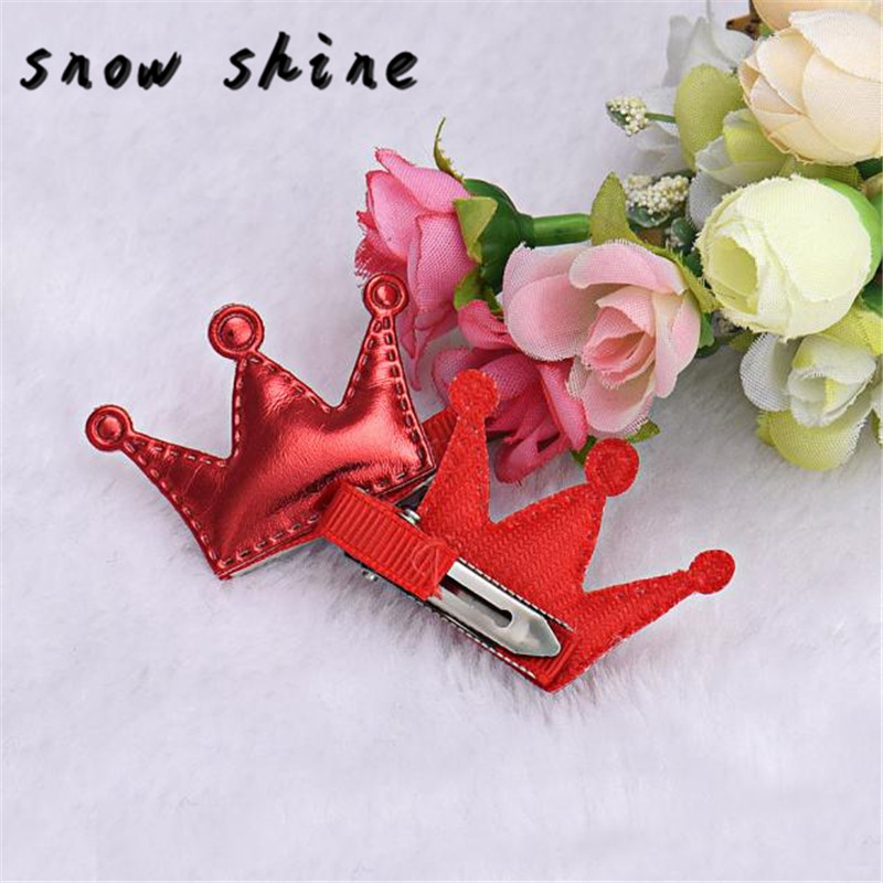 snowshine YLW  2PCS Hair Clips Girls Christmas Party Princess Leather Hair Style Buckle  free shipping *cydj