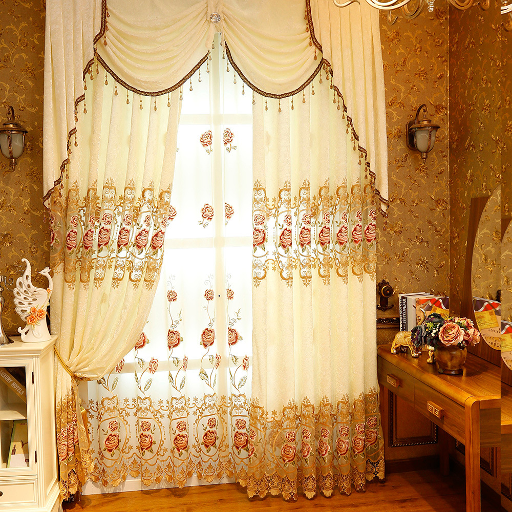 Pastoral custom made embroidered decoration cloth curtain valance for living room bedroom window treatment drapes tulle in curtains from home garden on