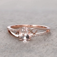 6x8mm Morganite Solitaire Engagement wedding ring Solid 14k Rose gold Natural diamonds Gemstone Promise Bridal Ring