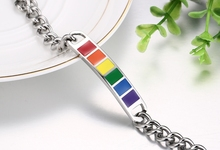 Homosexual Rainbow Stainless Steel Cuban Curb Link Chain Bracelets LGBT