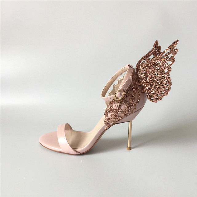 111f81c55cf0 Pink Glitter Butterfly Wine Sandals Angle High heels Summer Hot Wedding  Bride Dress Shoes Ladies Pumps
