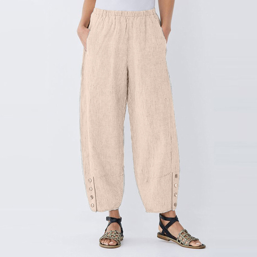 summer pants Fashion high waist pants spodnie damskie Casual Plus Size Button Trousers Pocket Elastic Waist Loose Pants women
