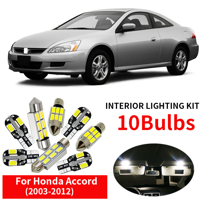 10Pcs Car Accessories LED Lamp Car Bulbs Interior Package Kit For 2003-2012 <font><b>Honda</b></font> <font><b>Accord</b></font> accessories Map Dome Door Plate Light image