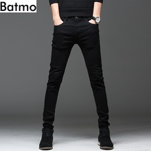 Batmo 2019 new arrival high quality casual slim elastic black jeans men
