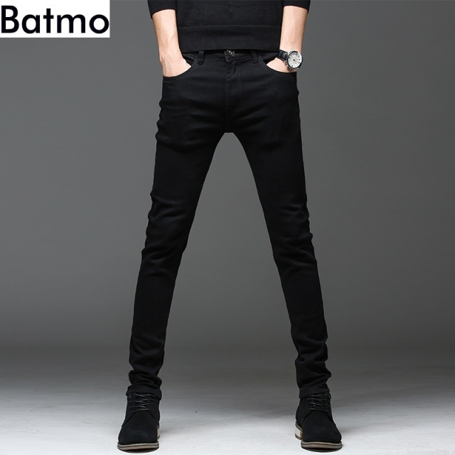 Batmo 2019 new arrival high quality casual slim elastic black jeans men ,men's pencil pants ,skinny jeans men 2108 19