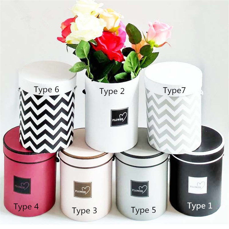 1pc Round Flower Paper Boxes with Lid Hug Bucket Florist Gift 13*13*18 Cm Home Decoration Party Birthday Decor Supplies