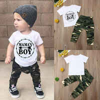Pudcoco Summer Newest Fashion Newborn Baby Boy Clothes Cotton Letters Tops T-Shirt Camouflage Pants 2Pcs Outfits Summer Clothes