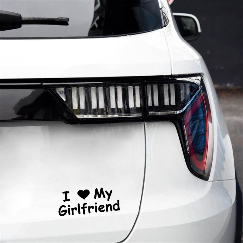 QYPF 15.5CM*6.2CM I Love My Girlfriend Vinyl Art Characters Car Styling Car Sticker Decal Black Silver C15-3048