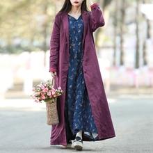 Hisenky осеннее пальто для женщин длинный кардиган винтажная китайская ветровка с длинным рукавом этническое льняное Женское пальто