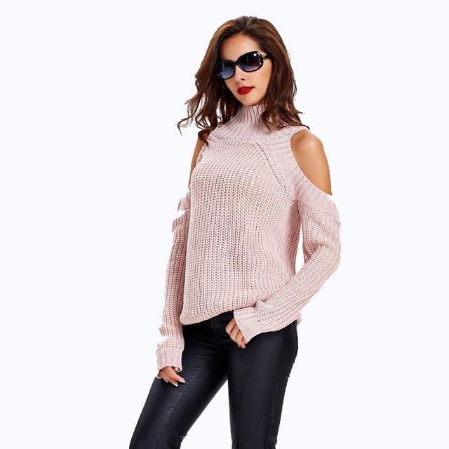Roze Gebreide Trui.Vrouwen Winter Trui 2018 Off Shoulder Sexy Wit Zwart Roze Gebreide