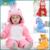 Crianças Das Meninas do Menino Sleepwear Grife Suave Flanela Animal Pijama Kawaii Quente Das Meninas Dos Meninos Do Bebê Com Capuz Romper Crianças Sleepwear