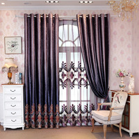 Girls Curtain Curtain for Living Room High grade European Curtains Velvet Purple Curtains for Bedroom Gradually Color Shading