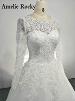 Vestidos De Noiva 2018 Ball Gown Wedding Dresses With Long Sleeve Beads Lace Applique Wedding Gown