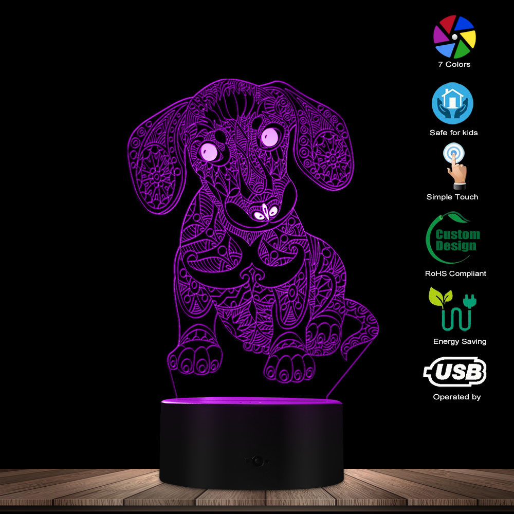 Modern Lovely 3D Dachshund Puppy Personalized Novelty Custom Decorative Night Lighting With Color Changing Table Lamp Dog Gift