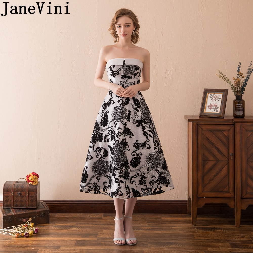 JaneVini Tea Length Black Mother Of Bride Wedding Party Dress Elegant Strapless Evening Formal Dinner Dresses For Ladies Lace Up