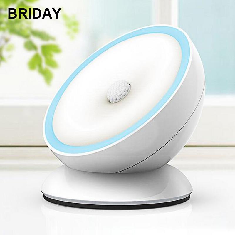 LED Motion Sensor Night Light 360 Degree Rotation Desk Lamp USB Charging Powered Smart Table Lamps DC5V ABS Cabinet Light