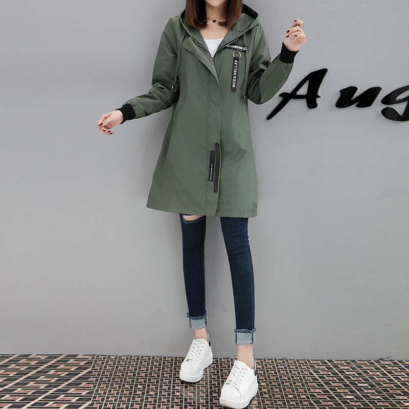 2018 Spring Autumn New Women Long Windbreaker Tops Army Green Black Casual Hooded   Trench   Plus Size Ladies Streetwear Girls Coat