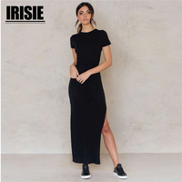 IRISIE 2018 Spring Summer New Style Sexy Women Bodycon Dress Solid O Neck Mid Calf Dresses