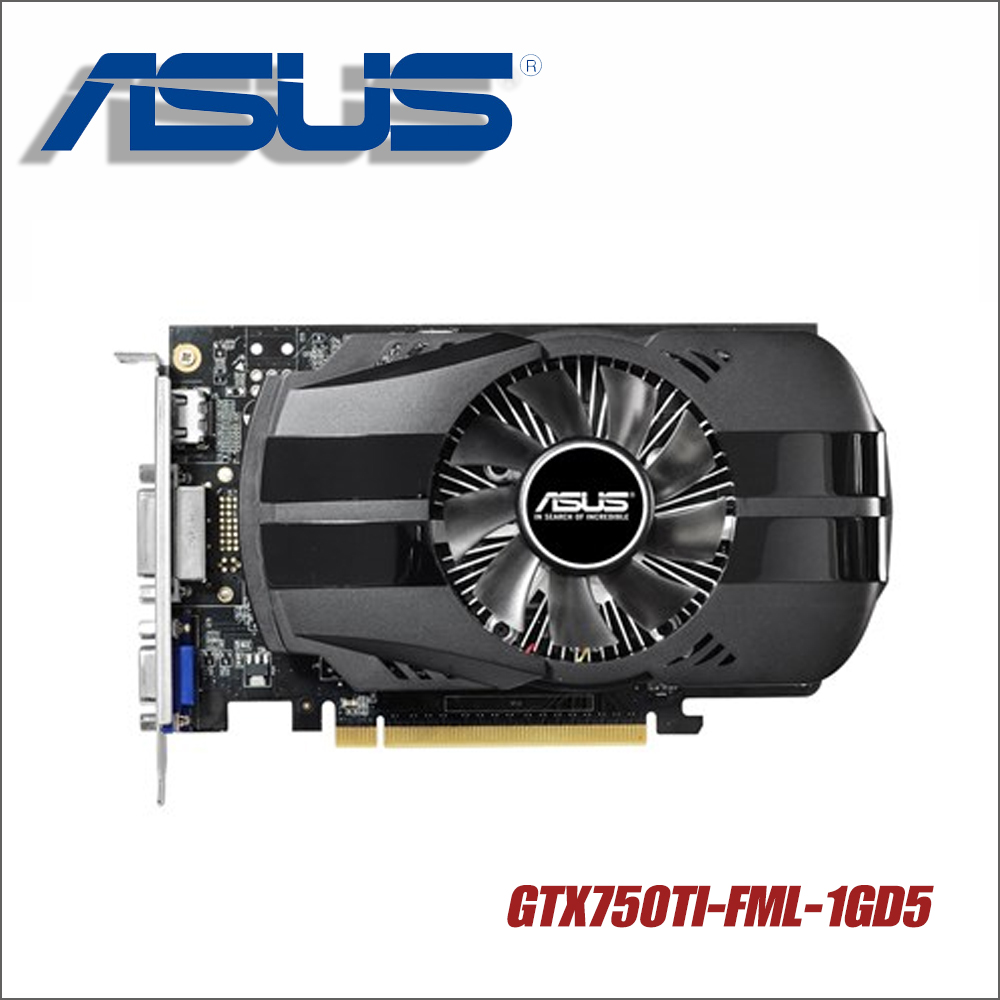 Asus GTX750TI-FML-1GD5 GTX750TI GTX 750TI 750 1G D5 DDR5 128 Bit PC Desktop Graphics Cards PCI Express 3.0 computer video used