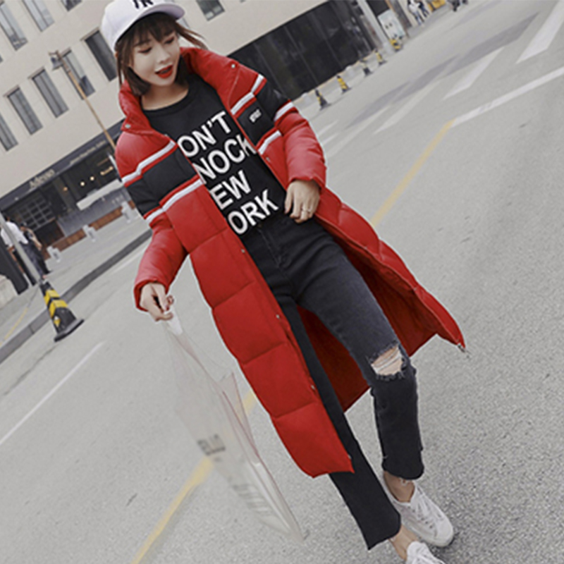 Parka Femme Long   Down     Coats   Winter Women Thick Slim Bread Suit Outerwear Stripe Zipper Elegant Windbreaker High Quality   Coat   New