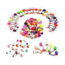 50/30Pcs 316L Mixed Color Fashion Navel Belly Button Tongue Bar Rings Piercing Body Jewelry Stainless Steel Pole