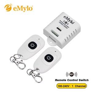 Image 1 - EMylo AC100 240V 2000 ワット 433 mhz の 1 チャンネル RF リレーワイヤレスリモート制御光スイッチレシーバー