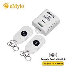 EMylo AC100 240V 2000W 433mHz 1 채널 RF 릴레이 무선 원격 제어 빛 스위치 송신기 수신기