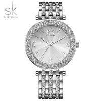 Shengke Fashion Watch Women Silver Waterproof Crystal Diamond Bracelet Ladies Watch Stainless Steel Strap Luxury Watches Women