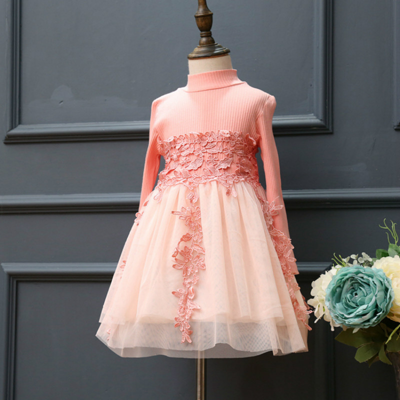 Girls Dresses Long Sleeves Casual Pink Lace tutu Embroideres Flower Dress for age 2 3 4 5 6 7 Year Little Princess Girl Birthday light peach allover lace three fourth sleeves dress pink