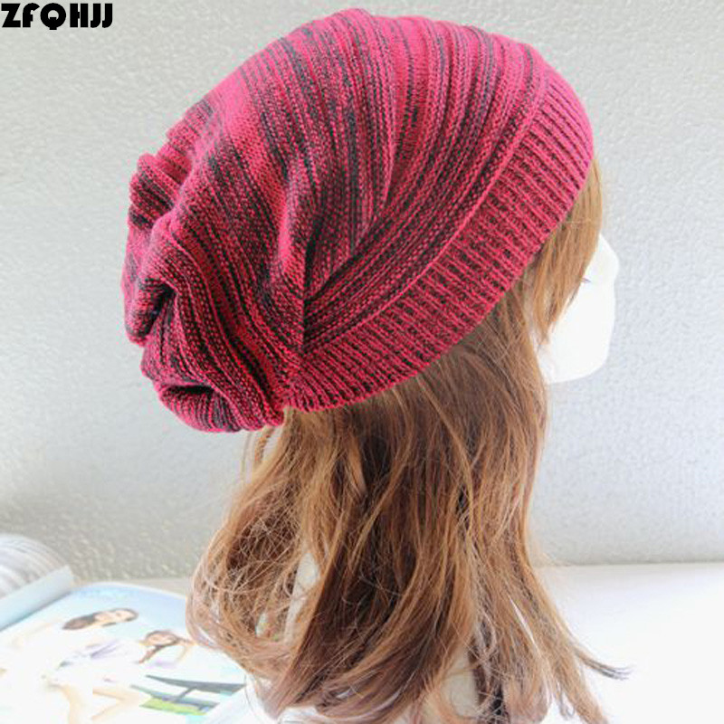 ZFQHJJ Women Mens Knit Hat Slouch Baggy Beanie Knitted Crochet Hats Winter Warm Ski Solid Design Skullies Bonnet Hippy Skull Cap 2017 top fashion promotion adult winter caps bonnet femme warm ski knitted crochet baggy beanie hat skullies cap hiphop hats