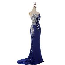 Sexy Nixe-abschlussball-kleid-schatz Silbrig Crystals Shiny Perlen Elegante Blaue Abendgesellschaft Kleider