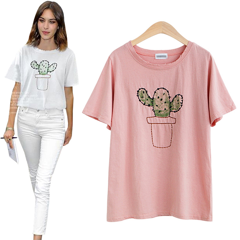 graphic tees women cactus tee shirt femme 2016 summer tops funny t shirts pink brand korean. Black Bedroom Furniture Sets. Home Design Ideas