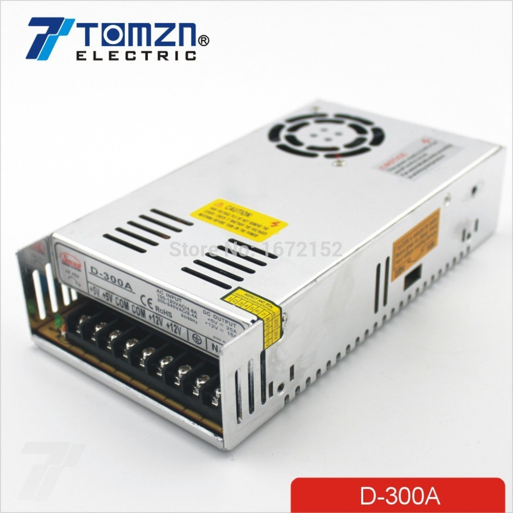 300W A Dual output 5V 12V Switching power supply AC to DC 25A DC 15.5A image