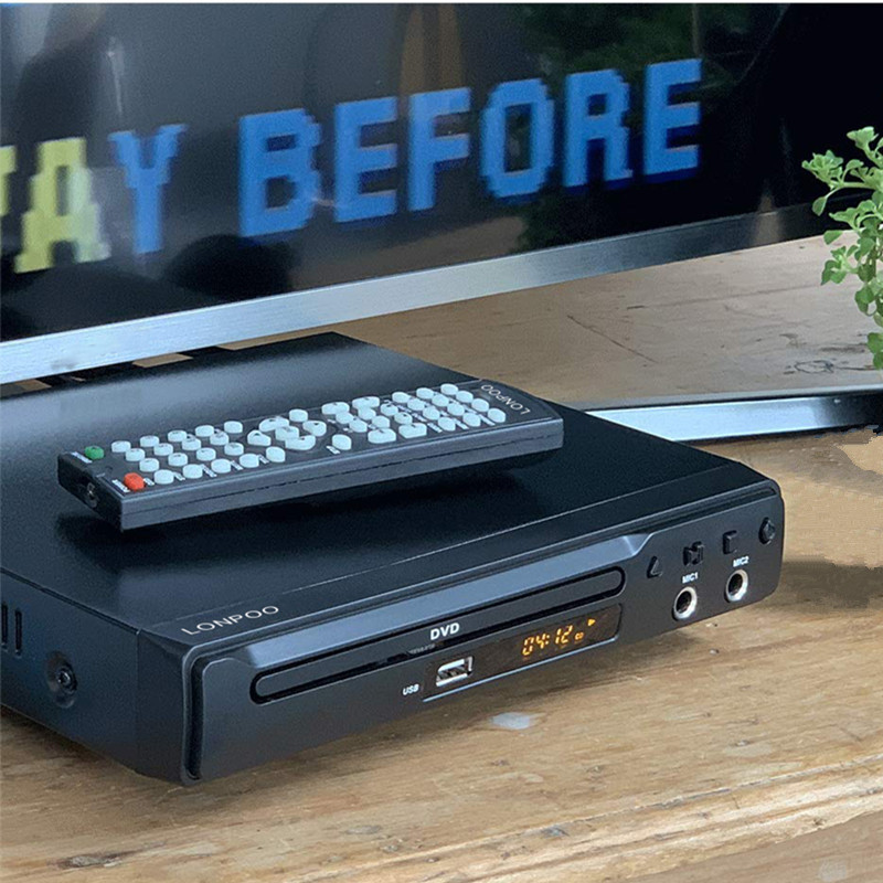 LONPOO DVD Player Region Free HDMI RCA Scart USB DVD Player Two MIC Ports Multi Language