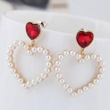 Earings Pendientes Aretes Japanese Korean Jewelry Sweet Inlaid Pearl Hollow Love Fashion Stud Earrings Clips With Accessories