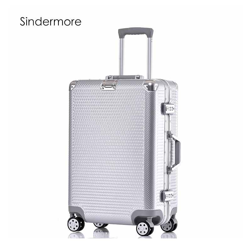 Sindermore 20 24 26 28 PC VS Cadre En Aluminium Voyage Chariot Bagages Spinner Report Sur Cabine roulant Hardside Bagages Valise