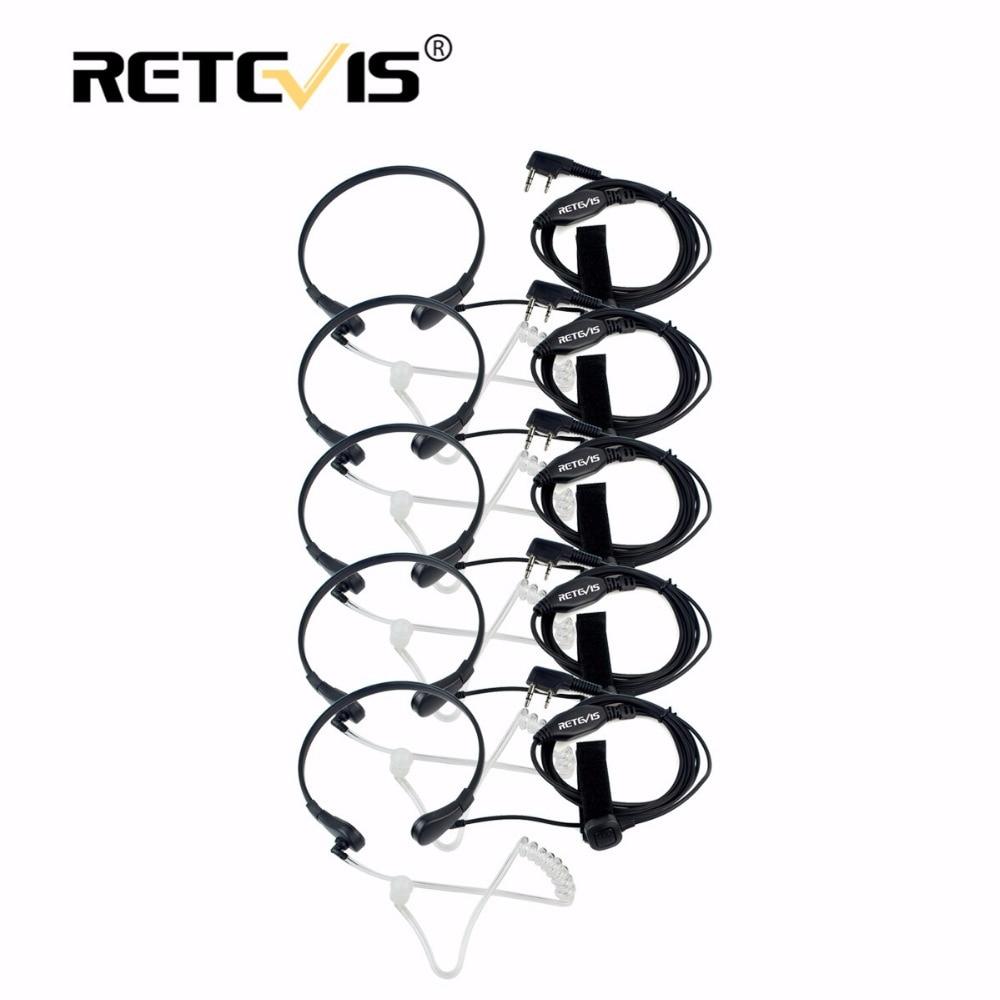 5 pz Retevis Throat Mic Auricolare Auricolare PTT Walkie Talkie Accessori per Baofeng UV 5R UV-Per Kenwood Per TYT per Puxing
