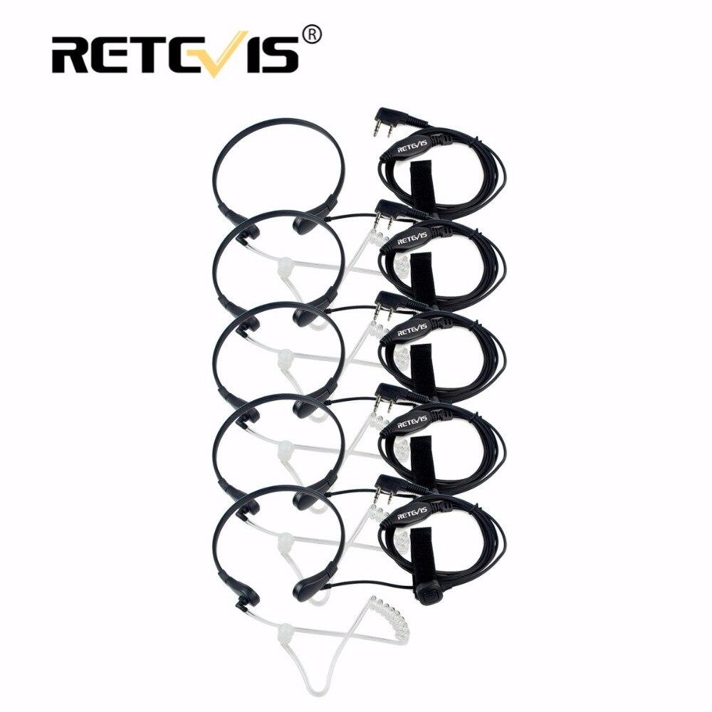 5 stücke Retevis Throat Mic Hörmuschel PTT Headset Walkie Talkie Zubehör für Baofeng UV 5R UV-82 Für Kenwood Für TYT für Puxing