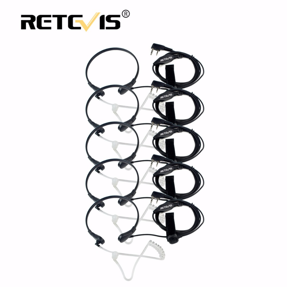 Galleria fotografica 5pcs Retevis Throat Mic Earpiece PTT Headset Walkie Talkie Accessories For Baofeng UV 5R UV-82 For <font><b>Kenwood</b></font> For TYT for Puxing