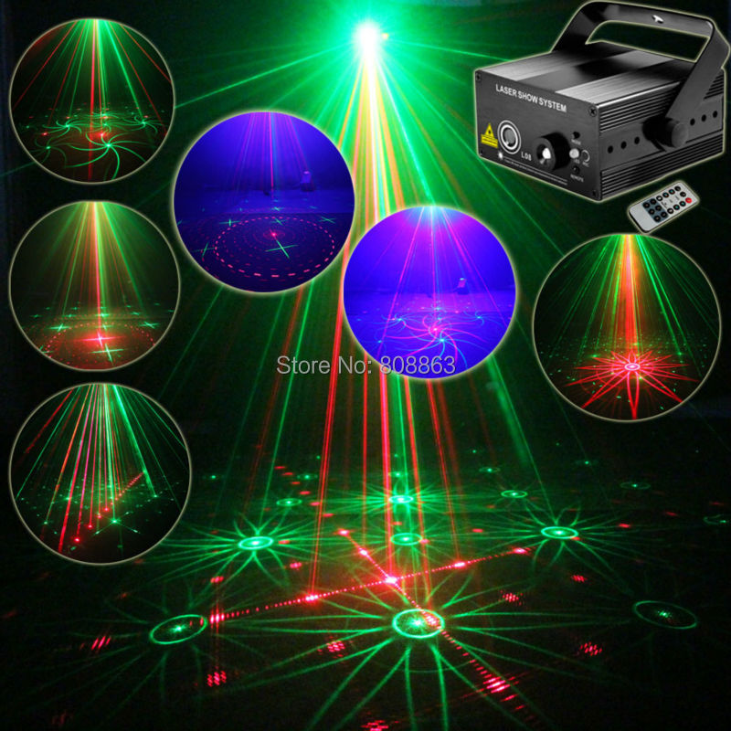New Red Green Laser 16 Patterns Projector Blue Led Club Party Bar DJ lighting Light Xmas Dance Disco Party Stage Lights Show B3