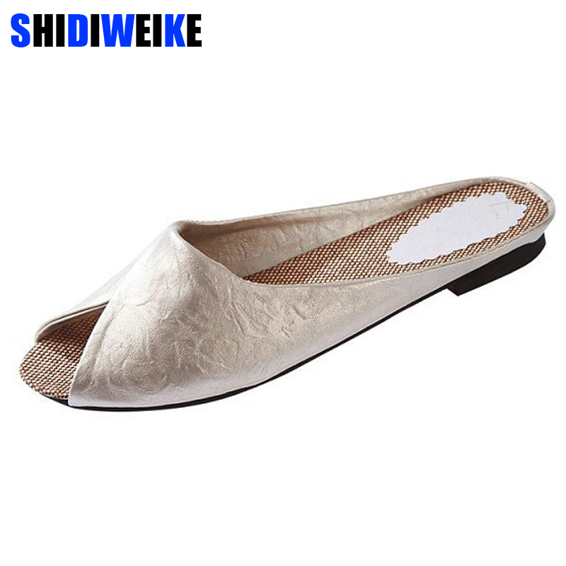 SHIDIWEIKE 2019 new summer brand Baotou leisure female slippers 5 color 5 yards leather women sandals b545SHIDIWEIKE 2019 new summer brand Baotou leisure female slippers 5 color 5 yards leather women sandals b545