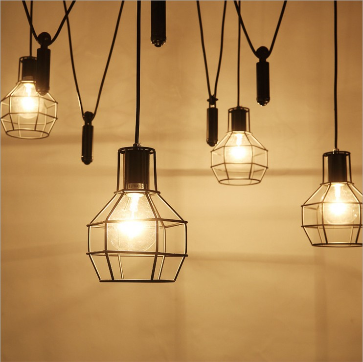 Nordic Industrial minimalist restaurant living room chandelier,American country creative personality small elevator cage lamps ouzhi for skoda octavia 2 a7 fabia rapid yeti red brown brand designer luxury pu leather front