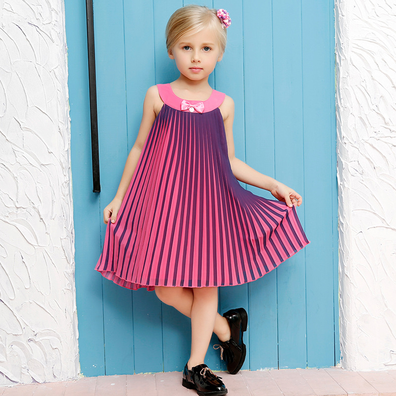 100-150 Girl Evening Dress Cotton Pleated Summer Style 2016 Fashion Princess Dress Kids Clothes Children Party Dresses For Girls